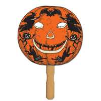 Jack-O-Lantern Fan/Mask on Stick