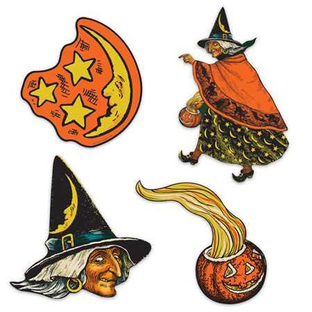 Witch, Moon & Pumpkin Cutouts (4/pkg)