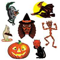 Halloween Classic Cutouts Vintage Halloween Classic Cutouts, retro Halloween decorations, vintage Halloween decorations, vintage die cut Halloween, retro die cut Halloween