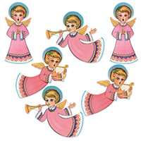 Vintage Christmas Glittered Angel Cutouts