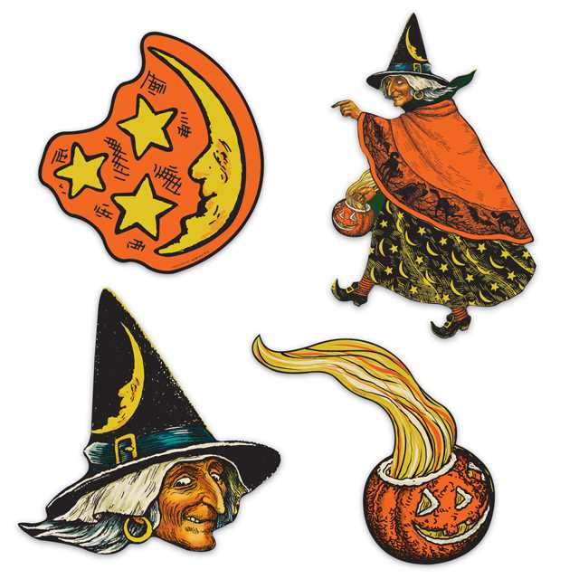 Vintage Witch Moon & Pumpkin Cutouts